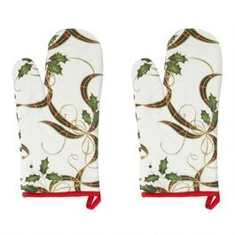 Famous Maker Holly and Ribbon Oven Mitts, Set of 2