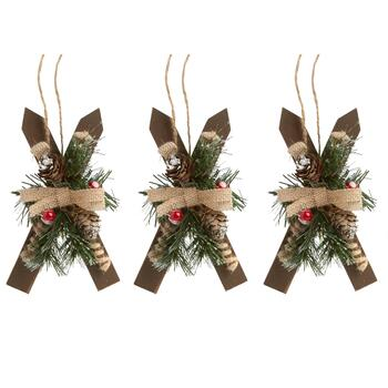 "7.25"" Frosted Skis and Burlap Bow Ornaments, Set of 3"