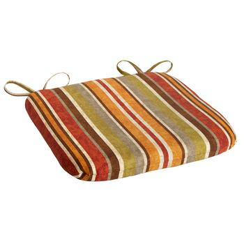 Red/Orange Stripe Indoor/Outdoor Squared Seat Pad
