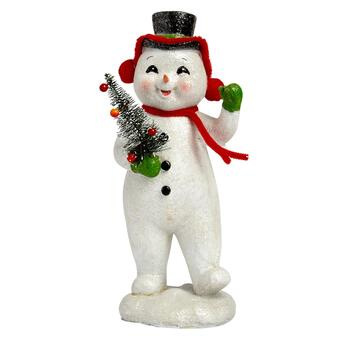 "11"" Green Hat Retro Snowman"