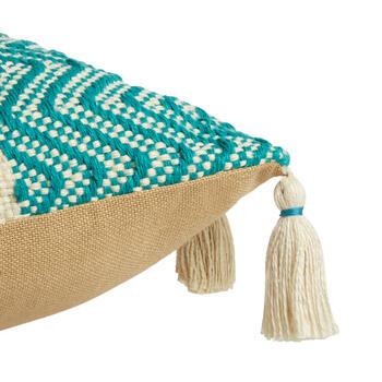 Teal/Green/Beige Woven Indoor/Outdoor Throw Pillow with Tassels view 3