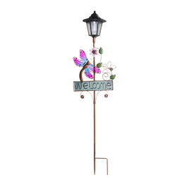 "36"" ""Welcome"" Dragonfly Solar Lantern Stake view 1"