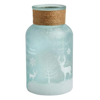 Light Blue Snowy Deer Hand-Painted Glass Vase