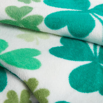 Green Clovers Throw Blanket view 2