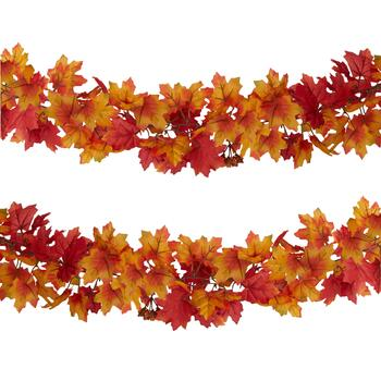 6' Red Chain Leaf Fall Garlands, Set of 2