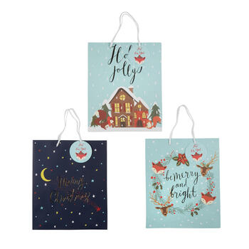 """Holly Jolly"" and ""Merry Christmas"" Gift Bags, Set of 6 view 1"