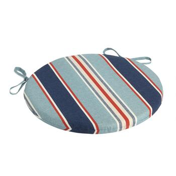 Alfresco™ Blue Striped Indoor/Outdoor Round Bistro Seat Pad