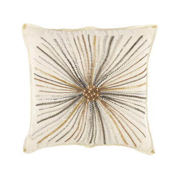 Gold Burst Embellished Square Throw Pillow