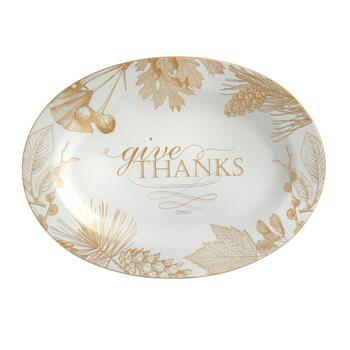 "10""x14"" ""Give Thanks"" Harvest Gold Foliage Oval Serving Platter view 2"