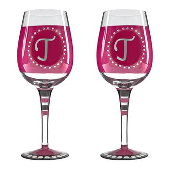 "Bedazzled Monogram ""T"" Wine Glasses, Set of 2"