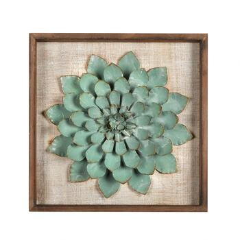 "18"" Sea Green Succulent Plant Wood/Metal Framed Wall Decor"
