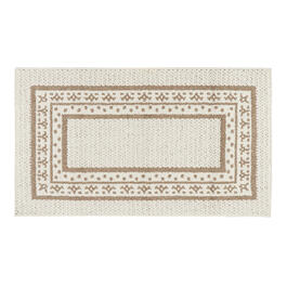 White/Tan Border Accent Rug view 1
