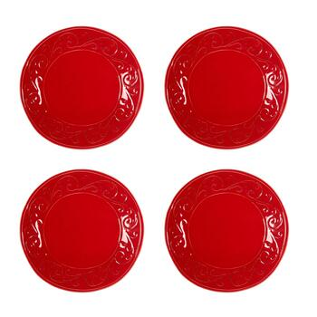 Solid Scroll Ceramic Dinner Plates, Set of 4
