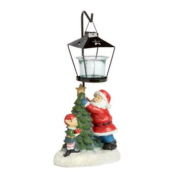"11.5"" Santa and Elf Lamp Post Candle Holder"