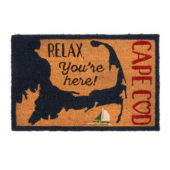 """Relax You're Here"" Cape Cod Sailboat Coir Mat view 1"