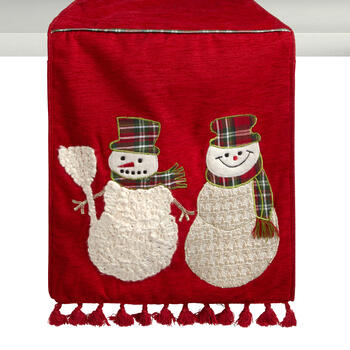 Plaid Scarf Snowmen Table Runner with Tassels view 1