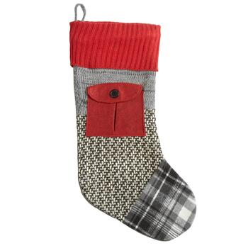 Red and Gray Patchwork Stocking