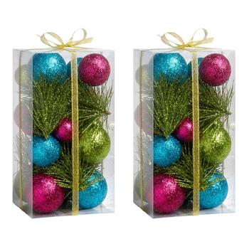 Pink/Green/Blue Ball Holiday Bowl Fillers, Set of 2