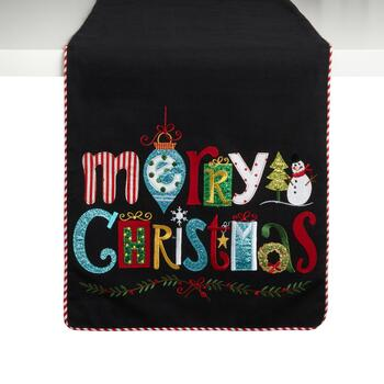 """Merry Christmas"" Glitter Icons Table Runner"