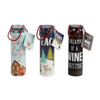 """Dreaming of a Wine Christmas"" and ""Peace"" Gift Tubes, 3-Pack"