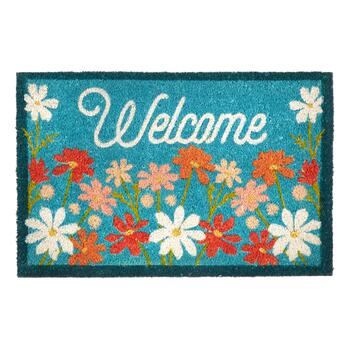 """Welcome"" Flowers Coir Door Mat"
