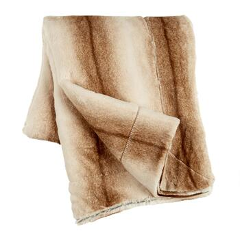 Vertical Brown Stripe Faux Fur Throw Blanket
