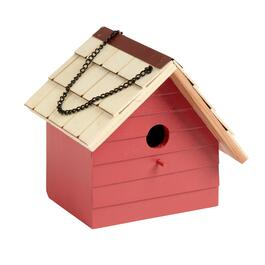 Off-Centered Shingle Roof Wood Birdhouse