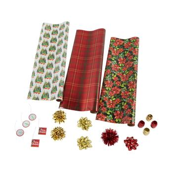 Poinsettia and Plaid Executive Wrapping Paper Kit