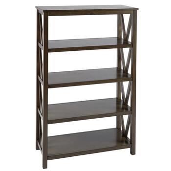 Gray V-Side Plank Top 4-Shelf Bookcase