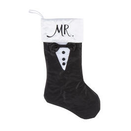 """Mr."" Black/White Groom Wedding Stocking view 1"