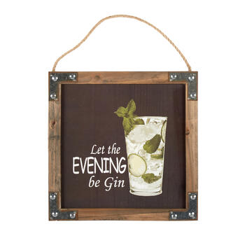 "12"" ""Let the Evening Be Gin"" Wood Frame Wall Decor view 1"