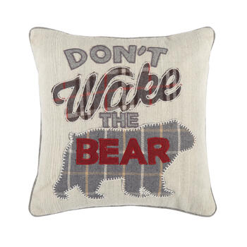 """Don't Wake the Bear"" Wool Blend Square Throw Pillow view 1"
