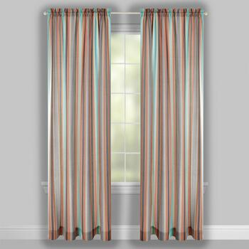 "Traditions by Waverly® 84"" Opal Stripes Rod Pocket Window Curtains, Set of 2 view 2"