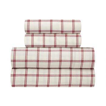 The Grainhouse™ Red/Tan Plaid Cotton Sheet Set