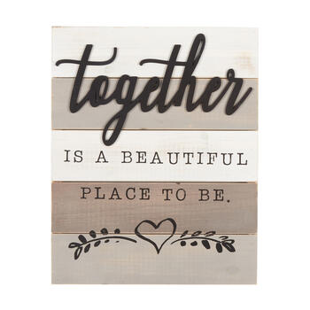 "16""x20"" The Grainhouse™ ""Together"" Cutout Wooden Wall Decor view 1"