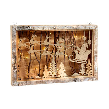 Christmas Night Scene Lighted Wood Box Wall Hanger view 1