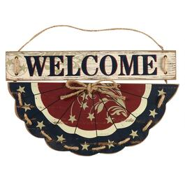 "18"" ""Welcome"" Bunting Wood Wall Hanger"