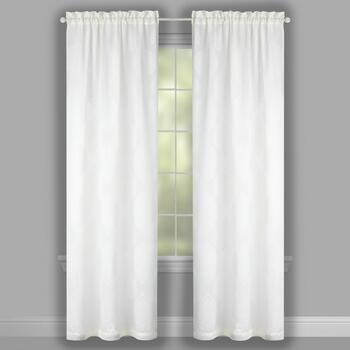 "84"" White Medallion Burnout Window Curtains, Set of 2 view 2"