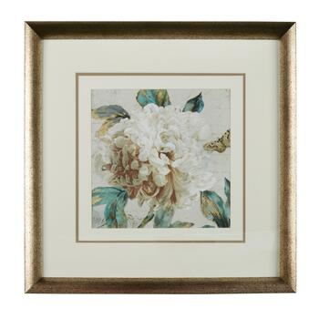 "22"" White Flower Gold Framed Wall Art"
