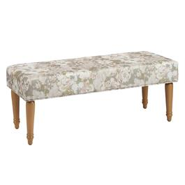Blush Floral Upholstery Ottoman Bench