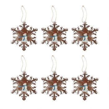 "9"" Beaded Snowflake Ornaments, Set of 3"