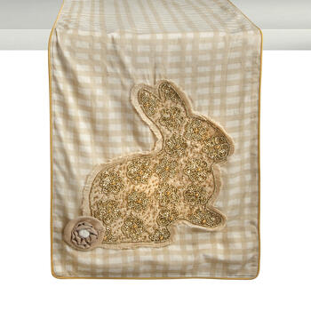 Checkered Table Runner with Embellished Bunny Applique view 1