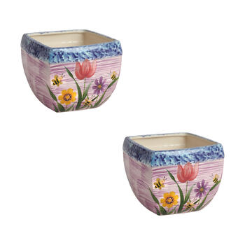 "6.5"" Blue/Pink/Purple Flowers Square Planters, Set of 2 view 1"