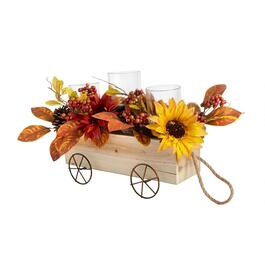 Harvest Flowers in Wagon 3-Cup Candle Holder view 1
