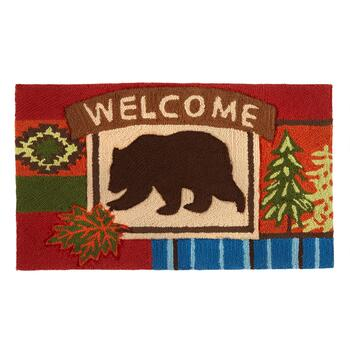 "18""x30"" ""Welcome"" Bear Hand-Hooked Area Rug"