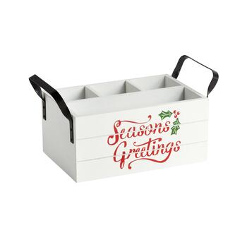 """Seasons Greetings"" 4-Section Wood Caddy"