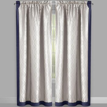 "84"" 2 Tone Jacquard Rod Pocket Window Curtains, Set of 2 view 2"