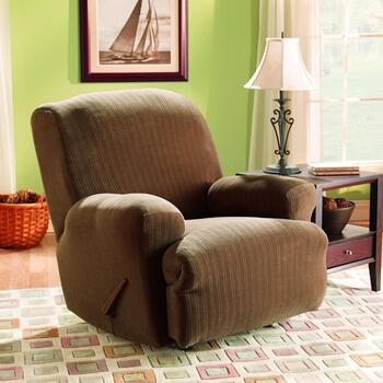Surefit® Taupe Stretch Pinstripe Recliner Slipcover