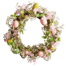 "16"" Artificial Pink Flower Nest Wreath with Eggs"