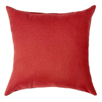 Solid Red Woven Indoor/Outdoor Square Pillow with Buttons view 2